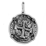 "Atocha Silver 1 1/4"" Spanish Replica Coin Pendant with Shackle Bail - Item #15188"