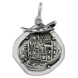 "Atocha Silver 1 5/8"" Replica Coin with Ferocious Shark Bezel & Shackle Bail - Item #15504"