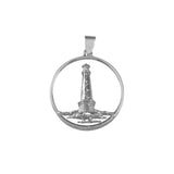 "15530 - 1 1/4"" Framed Lighthouse Scene Pendant - Cape Hatteras, NC - Lone Palm Jewelry"