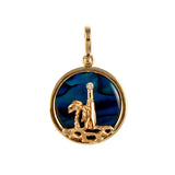Lighthouse Scene Sea Opal Pendant with Diamond - Lone Palm Jewelry