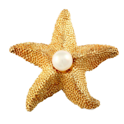 "1 7/8"" Nubby Starfish with Pearl Center Pin - Lone Palm Jewelry"