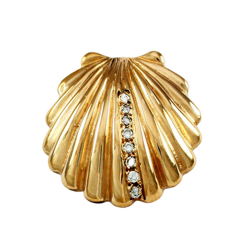 Scallop Slide Pendant with Diamonds - Lone Palm Jewelry