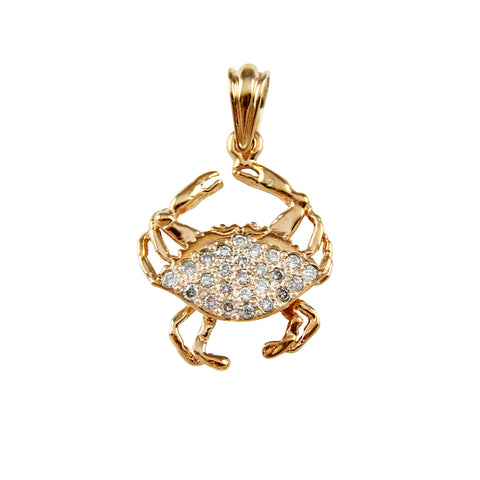 "1"" Blue Crab Pendant Encrusted with Diamonds - Lone Palm Jewelry"