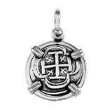 "Atocha Silver 3/4"" Replica Coin Pendant with Smooth Frame & Shackle Bail - Item #15732P"