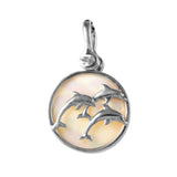 Trio of Dolphins Sea Opal Pendant - Lone Palm Jewelry