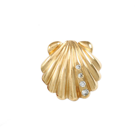 "5/8"" Scallop with 4 Diamonds - Lone Palm Jewelry"