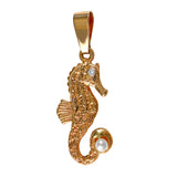 "15877 - 1"" Seahorse Pendant with Diamond and Pearl Accents"