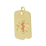 "1 1/8"" Medical ID Tag with Enamel - Lone Palm Jewelry"