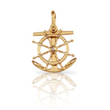 "1 3/4"" Anchor & Ship's Wheel with Diamonds - Lone Palm Jewelry"