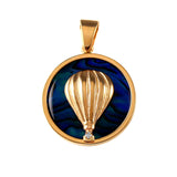 15977 - Hot Air Balloon Sea Opal Pendant with Diamond