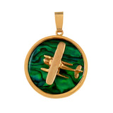 "15981 - 1"" Pontoon Cessna Sea Opal Pendant"