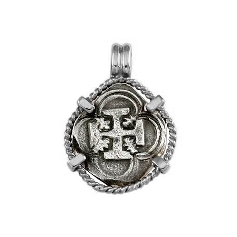 "Atocha Silver 3/4"" Replica Coin Pendant with Twisted Frame & Fixed Bail - Item #15998"