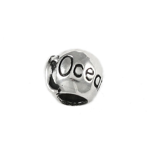 OCEAN CITY Engraved Bead with Dolphin - Lone Palm Jewelry