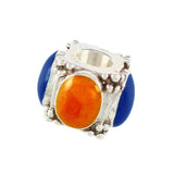 Decorative Orange & Blue Enameled Bead - Lone Palm Jewelry