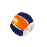 Orange & Blue Enameled Barrel Bead - Lone Palm Jewelry