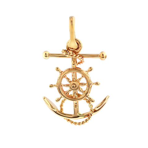 "18072 - 1 1/4"" Fouled  Anchor with Movable Ship's Wheel - Lone Palm Jewelry"