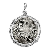 "Atocha Silver 1 3/4"" Replica Coin Pendant with Smooth & Twist Bezel - Item #18212"