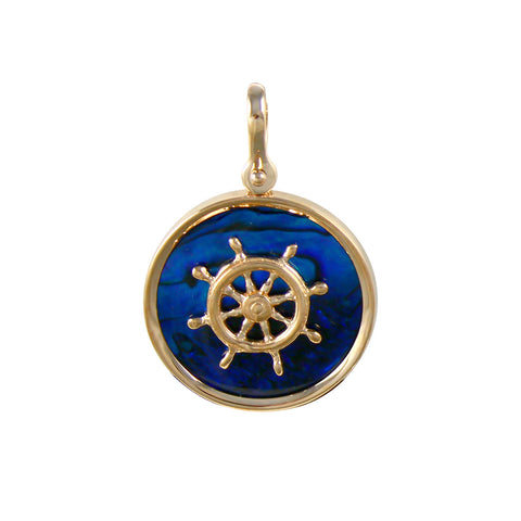 Ship's Wheel Sea Opal Pendant (Needs Pricing) - Lone Palm Jewelry