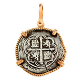 "Atocha Silver 1 1/4"" Replica Spanish Coin with in Twisted Frame & Shackle Bail - Item #18281"