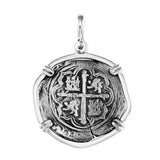 "Atocha Silver 1 1/4"" Spanish Replica Coin Pendant with Shackle Bail - Item #18282"