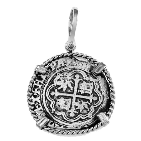 "Shipwreck Atocha Silver 1"" Replica Reales Pendant with Twisted Frame & Shackle Bail - Item #18283"