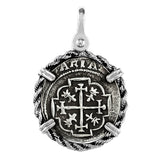 "Atocha Silver 1 1/4"" Spanish Replica Coin Pendant with Twisted Rope Frame & Shackle Bail - Item #18433"