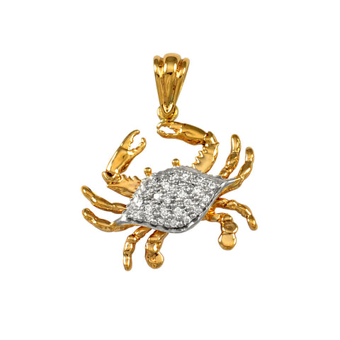 "18756d - 1 1/8"" Crab Pendant Encrusted with Diamonds - Lone Palm Jewelry"