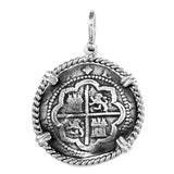 "Atocha Silver 1 1/8"" 2 Real Atocha Treasure Replica Coin Pendant in Rope Frame - Limited Edition - Item #18945"