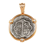 "Atocha Silver 1 1/8"" Replica Coin Pendant with 3 Diamond Accents - Item #18947"