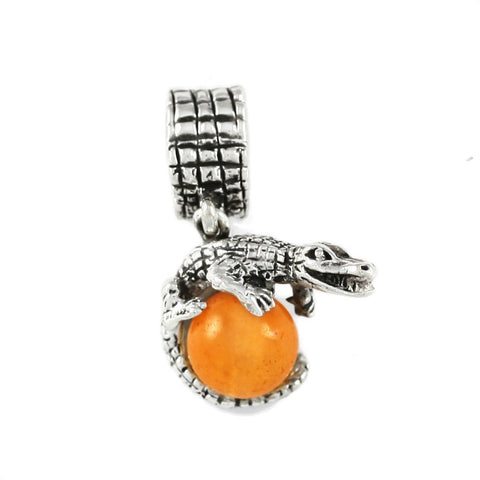 Gator Wrapped Around Orange Carnelian Bead - Lone Palm Jewelry