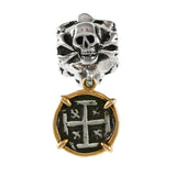 19249a - Skull and Replica Atocha Coin Dangle Bead