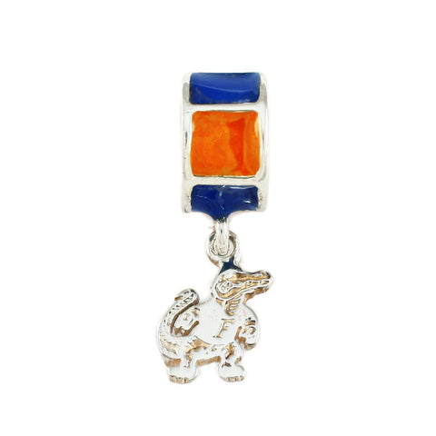 Fighting Albert Gator Charm with Orange & Blue Enamel Bail - Lone Palm Jewelry
