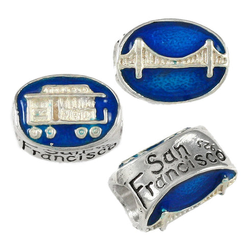 SAN FRANCISCO Trolley & GGB Enameled Bead - Lone Palm Jewelry