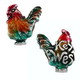 "Rooster with ""Key West"" & Enamel - Lone Palm Jewelry"