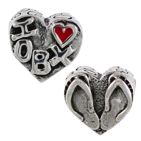 "I ""heart"" OBX"" & Flip Flop Heart Bead - Lone Palm Jewelry"