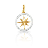 "1 1/16"" Mixed Metal Compass Rose Pendant - Lone Palm Jewelry"