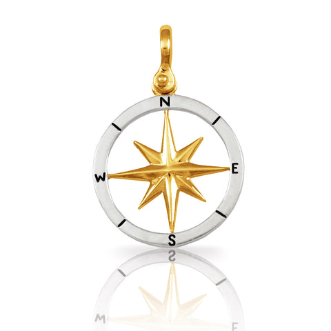 "21064 - 1 1/16"" Mixed Metal Compass Rose Pendant"