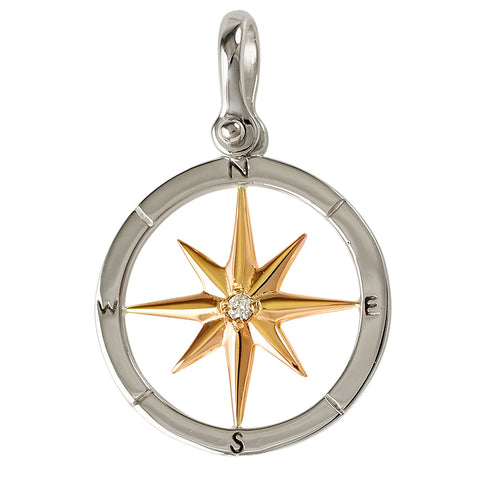 "Compass Rose with Diamond 14kt Yellow and White Gold  1 1/16"" - 21064d"