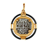 "Atocha Silver 1 5/8"" Replica Coin Pendant in 2 Part Metal & Black Cable Setting - Item #21151"