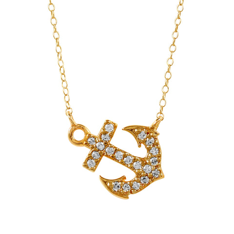 21176d - Diamond Anchor Split Chain Necklace