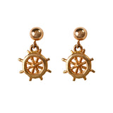 30222 - Dangling Ship's Wheel Post Earrings