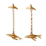 30338 - Whale Tail Stud Earrings with Dangling Whale