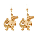 "Albert Gator Dangle Lever Back Earrings - 1 1/4"" 14kt Gold or Sterling Silver - 30526"