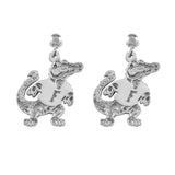 "30529 - 3/4"" Sterling Albert Gator Dangle Post Earrings"