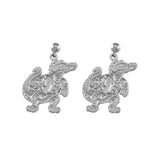 "30543 - 7/8"" Sterling Albert Gator Dangle Earrings - Satin Finish"