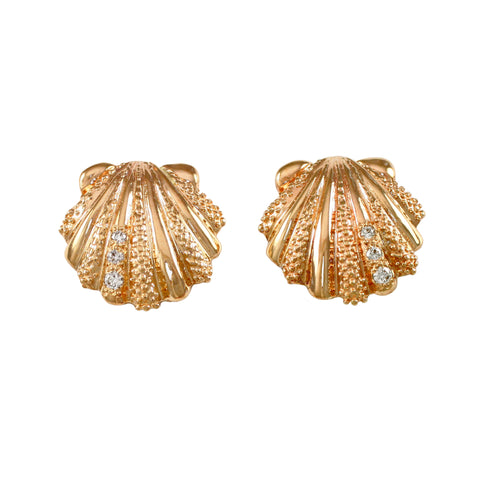 "30569d - 5/8"" Scallop Stud Earrings with Diamonds"