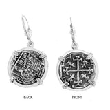 "Atocha Silver 7/8"" Replica Coin Earrings in Smooth Frame - Item #30641"