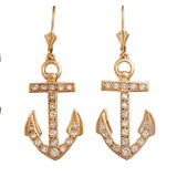 "30681 -  1 1/8"" Anchor Earrings with Diamonds"