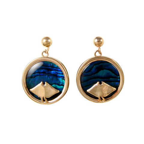 Manta Ray Sea Opal Earrings (Needs Pricing) - Lone Palm Jewelry