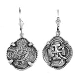 "Shipwreck Atocha Silver 3/4"" Replica Coin Earrings with Lever Backs - Item #30768DA"